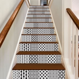 Decorative vinyl tiles for stairs