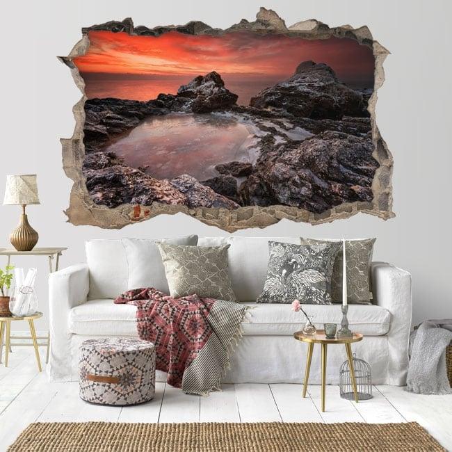 Decorative vinyl sunset Rocky Beach Bulgaria 3D