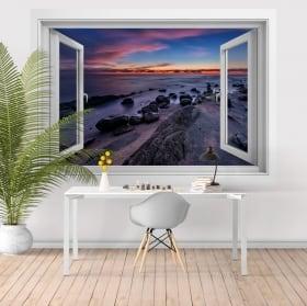 Decorative vinyl windows sunset black sea 3D