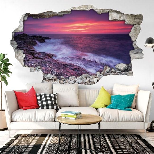 Decorative vinyl sunset on the black sea 3D