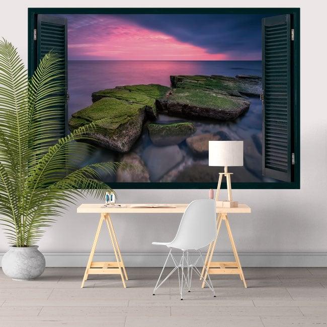 Decorative vinyl window sunset on the black sea 3D