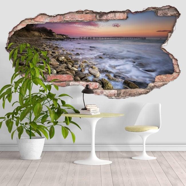 Decorative vinyl sunset on the coast 3D