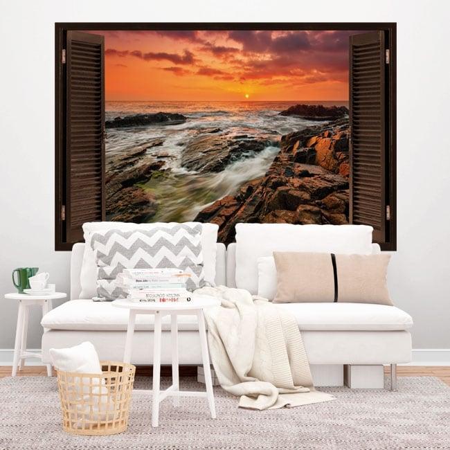 Vinyl window sunrise on the coast 3D