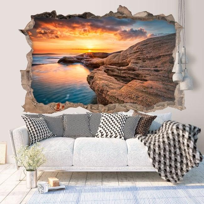 Vinyl sunrise on the black sea Bulgaria 3D