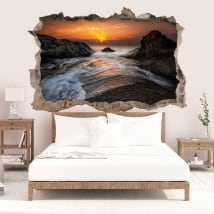 Wall decal sunrise black sea coast 3D