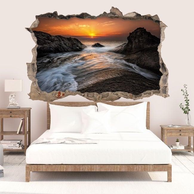 Wall decal sunrise black sea coast 3D