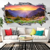 Vinyl walls sunset in the mountains 3D