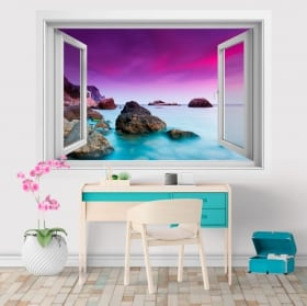 Vinyl and stickers 3D window sunset at the sea