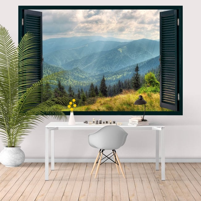 Wall decal window 3D mountains