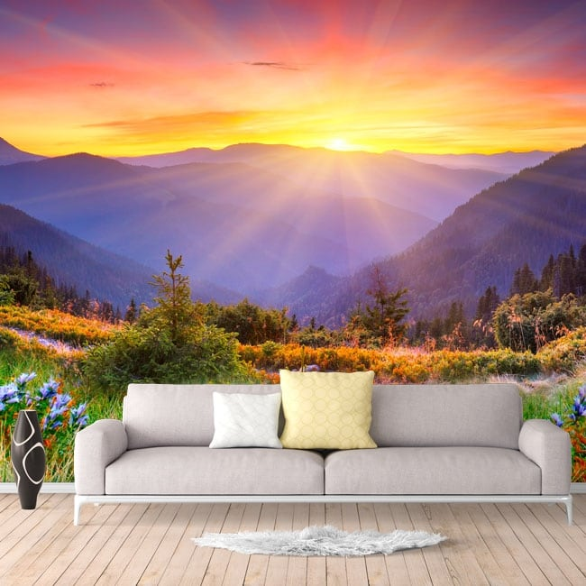 Vinyl wall murals sunset in the mountains