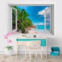 Wall stickers window Seychelles Islands 3D