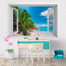 Wall stickers window Seychelles Islands 3D