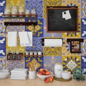 Decorative vinyl tiles walls