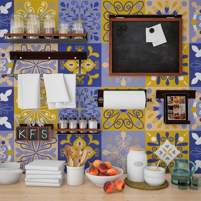 Decorative vinyl tiles walls