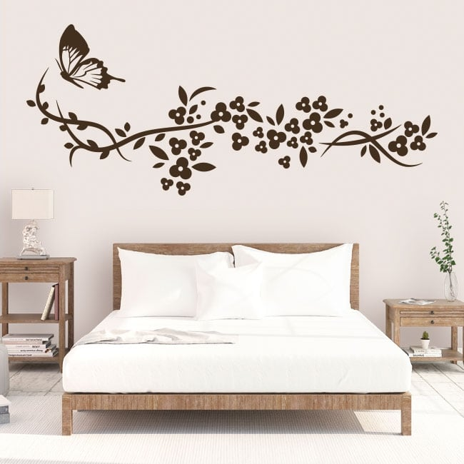 Decorative vinyl butterfly and flowers