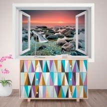 Decorative vinyl window sunset in the sea 3D
