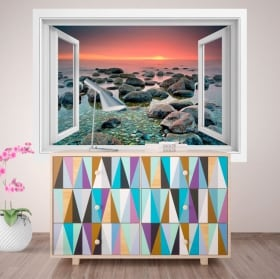 Decorative vinyl window sunset in the sea 3D