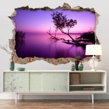 Decorative vinyl sunset on the lake 3D