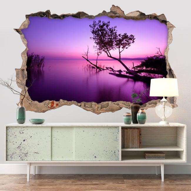 Decorative vinyl sunset on the lake 3D