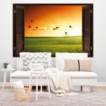 Decorative vinyl window birds at sunset 3D