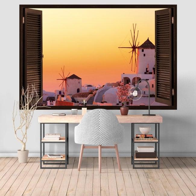 Decorative vinyl sunset in Santorini Greece 3D