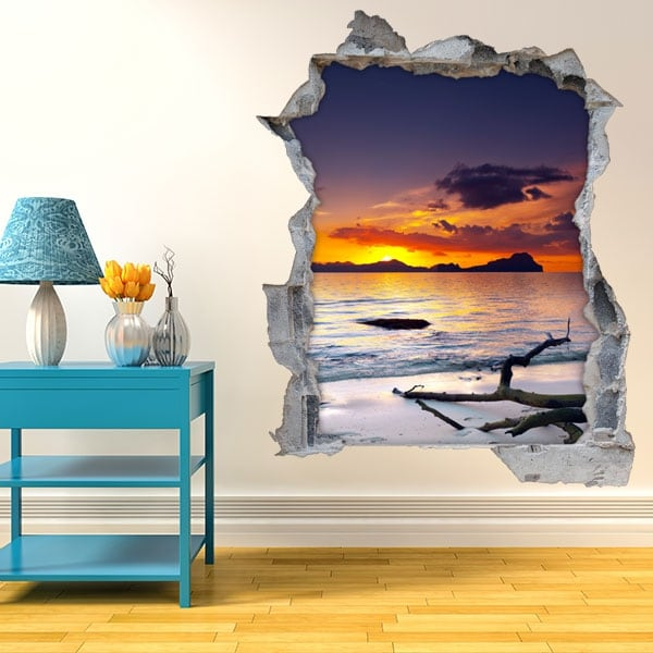 Wall stickers sunset on the beach 3D