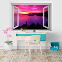 Decorative vinyl window sunset in Greece 3D