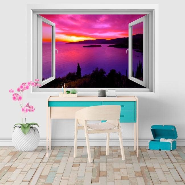 Decorative vinyl window sunset in Greece 3D