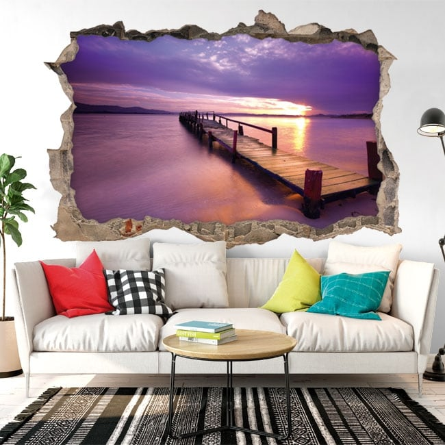 Decorative vinyl 3D sunset colors