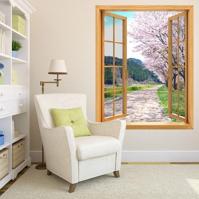 Decorative vinyl windows cherry tree Japan 3D