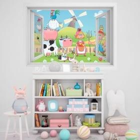 Children's vinyl window 3D animal farm