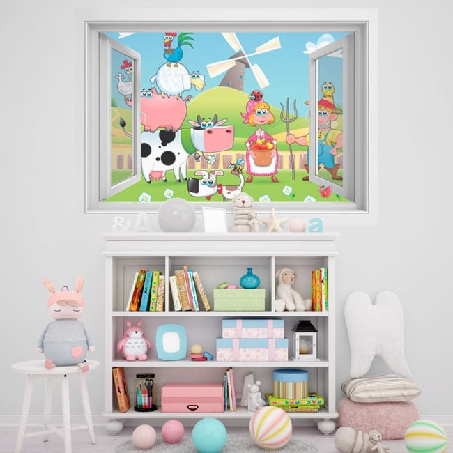 Children's vinyl window 3D animal farm