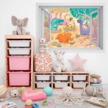 Children's vinyl window 3D dinosaurs
