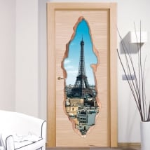Decorative vinyl doors Paris Eiffel Tower 3D