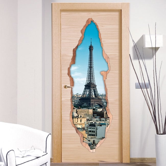Decorative vinyl doors Paris Eiffel Tower 3D