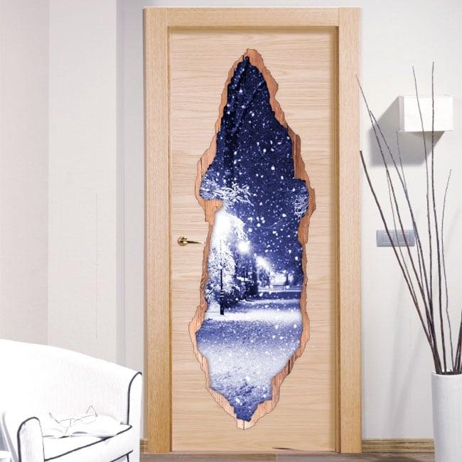 Decorative vinyl doors snow square 3D