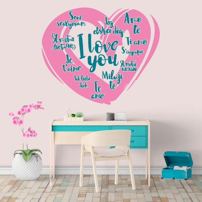 Decorative vinyl I love you in several languages