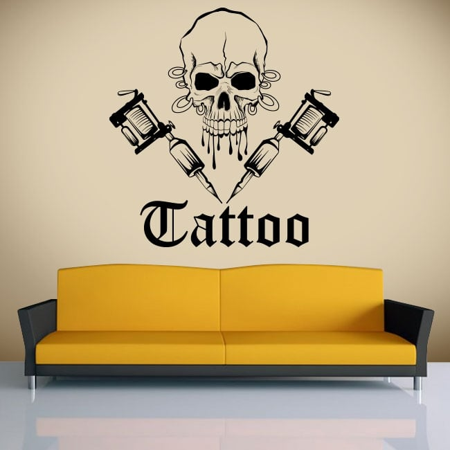 Decorative vinyl skull tattoo
