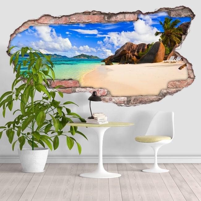 Vinyl beach Anse Source D'Argent Seychelles 3D
