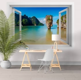 Decorative vinyl window island James Bond Thailand 3D