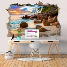 Decorative vinyl tropical island at sunset 3D
