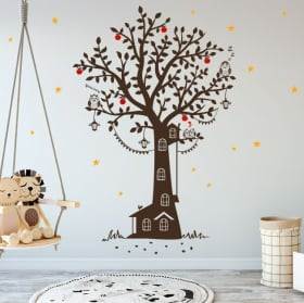 Decorative vinyl child house tree