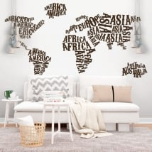 Vinyl and stickers world map continents