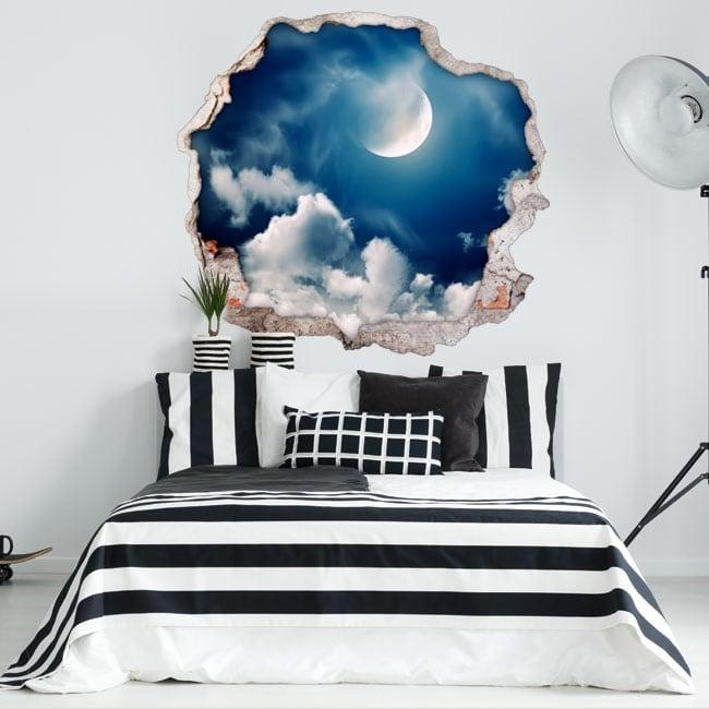 Decorative vinyl moon and clouds 3D