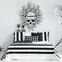 Decorative vinyl skull and feathers