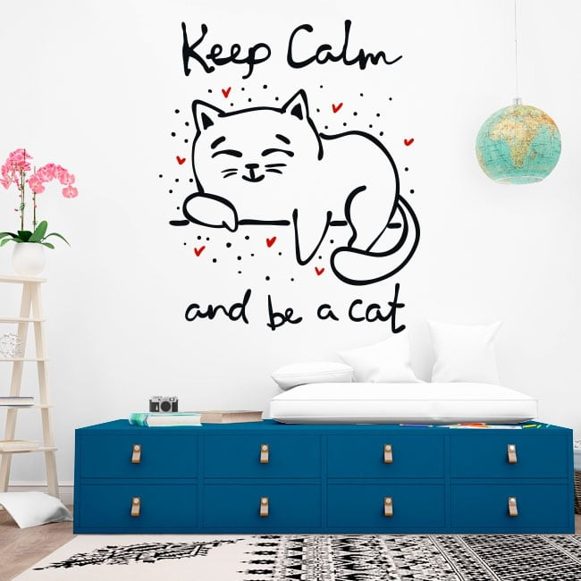 Decorative vinyl phrase keep calm and be a cat