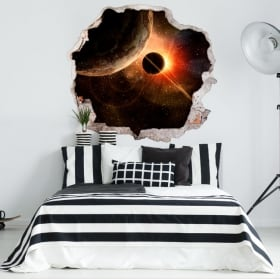Decorative vinyl planets and cosmos 3D