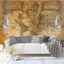 Vinyl wall murals vintage world map