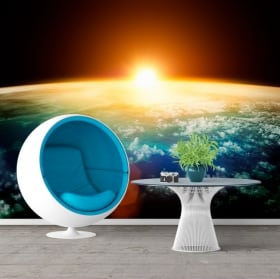 Vinyl wall murals planet earth and sun 3D