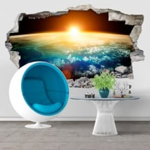 Decorative vinyl planet earth and sun 3D